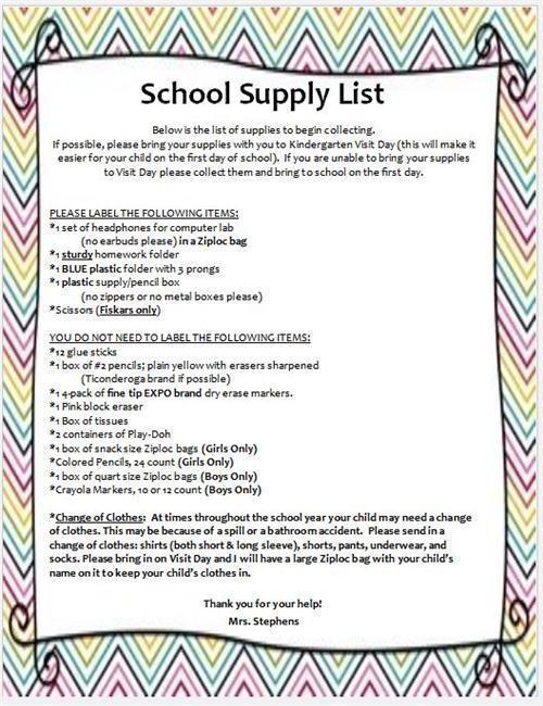 Kindergarten - Mrs  Stephens / Student Supply List
